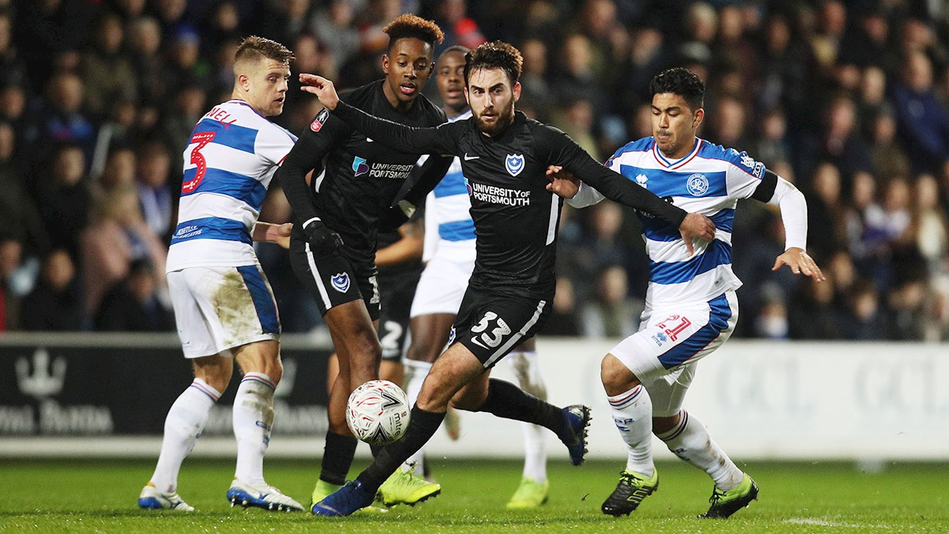 Ben Close in action for Pompey at QPR