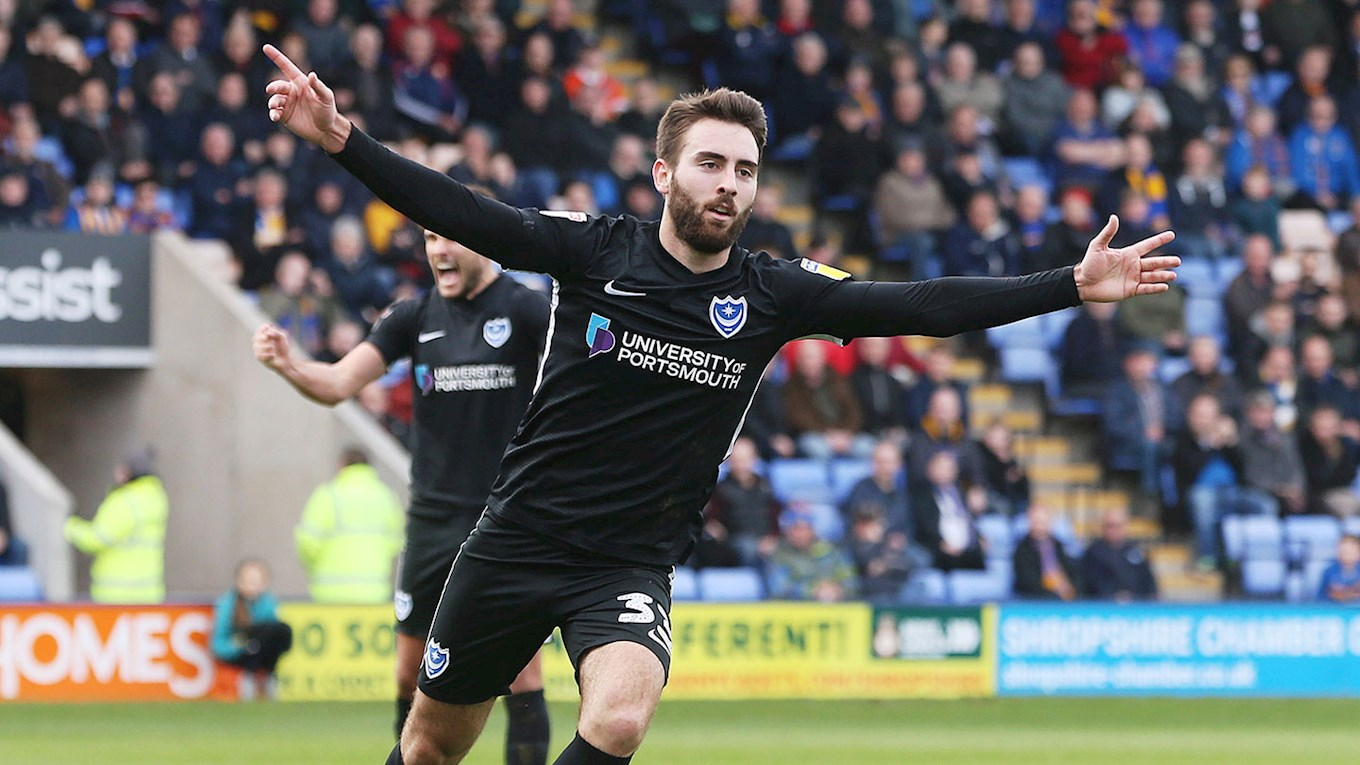Ben Close celebrates scoring for Pompey at Shrewsbury