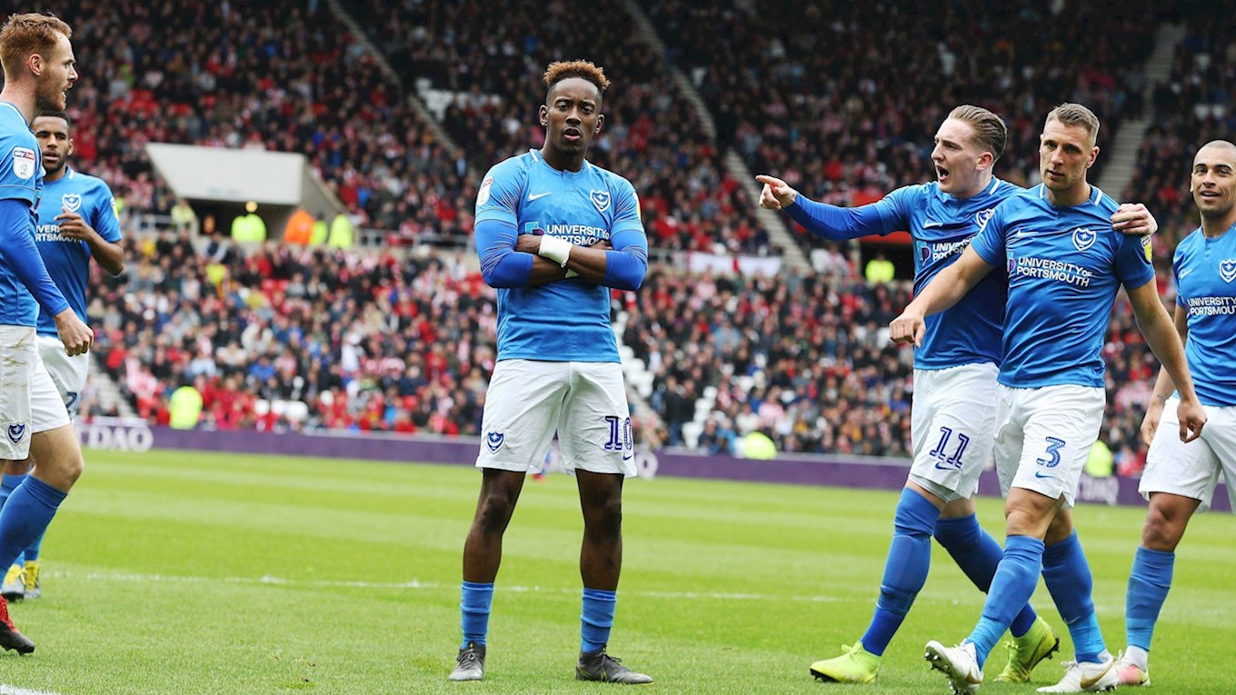 Jamal Lowe celebrates scoring for Pompey at Sunderland