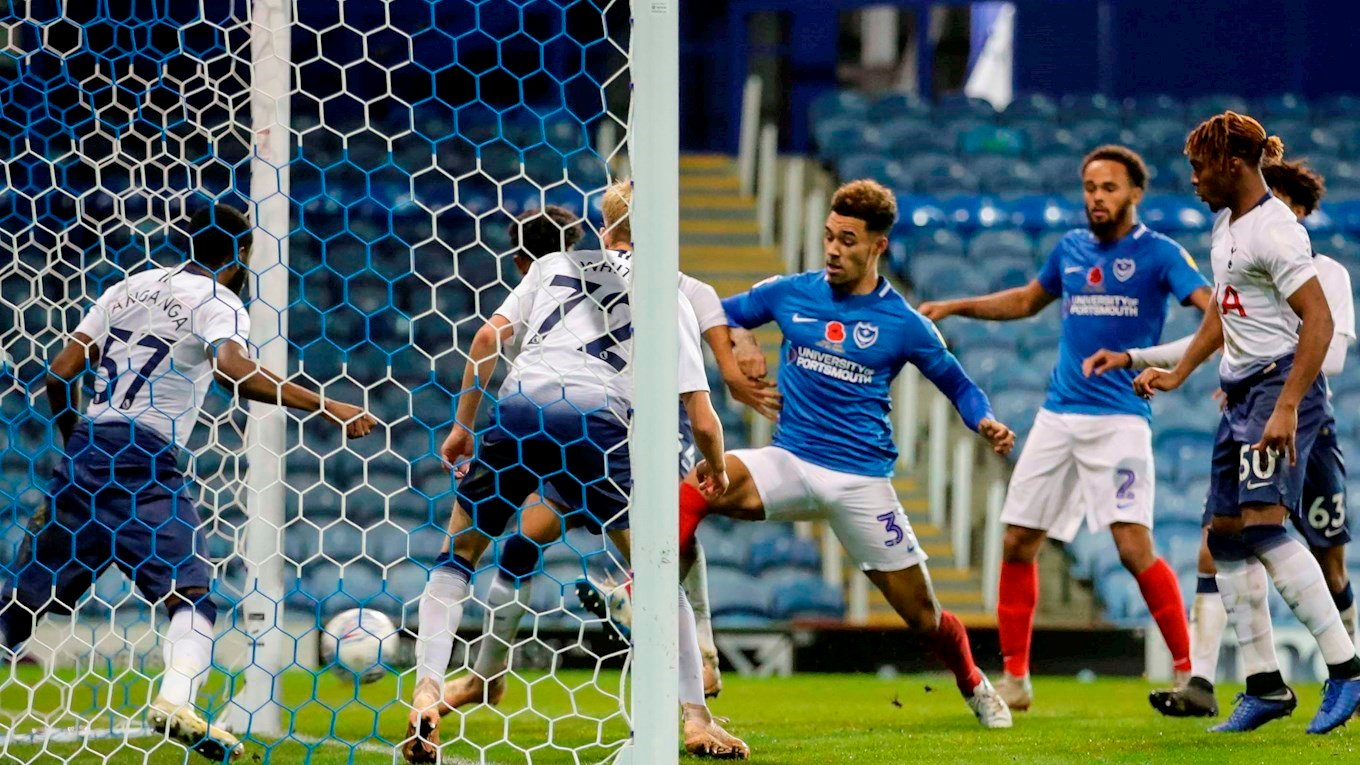 Andre Green scores for Pompey against Tottenham