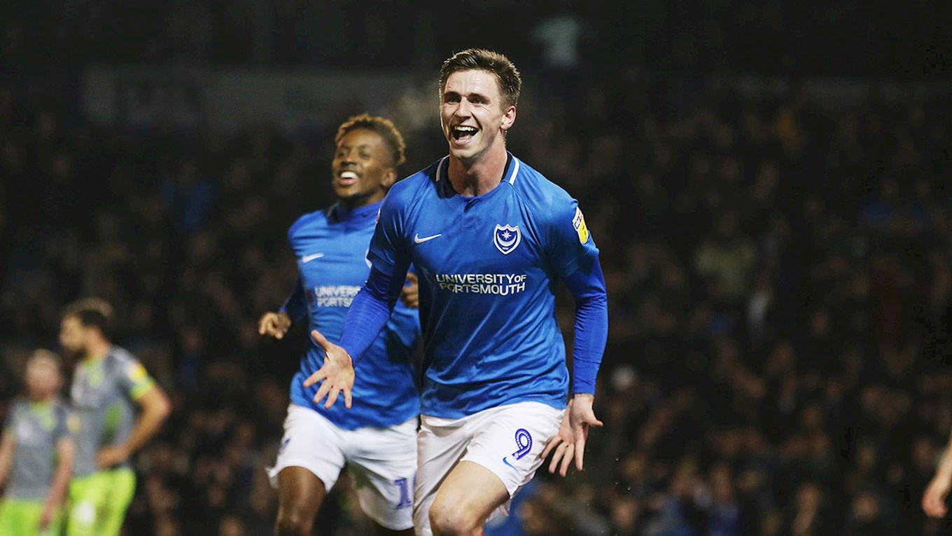 Oli Hawkins celebrates scoring for Pompey against Walsall