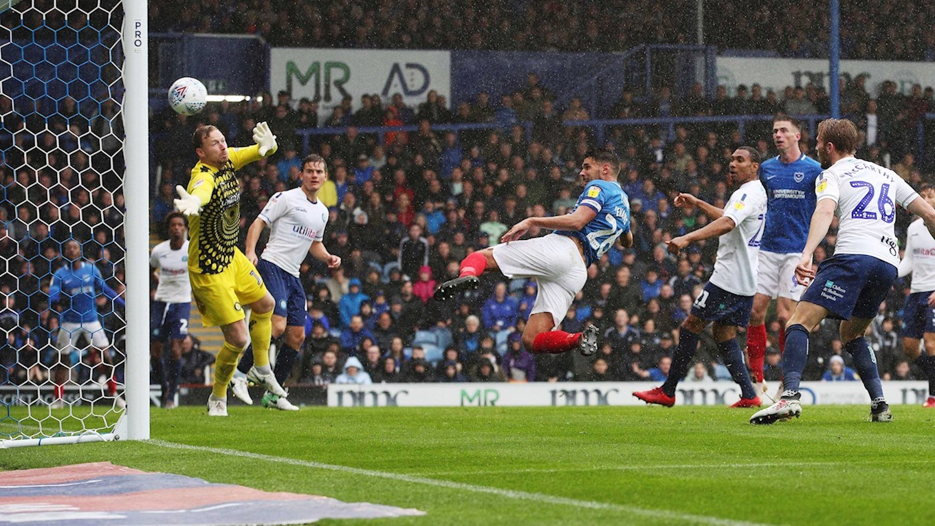 Gareth Evans scores for Pompey against Wycombe at Fratton Park