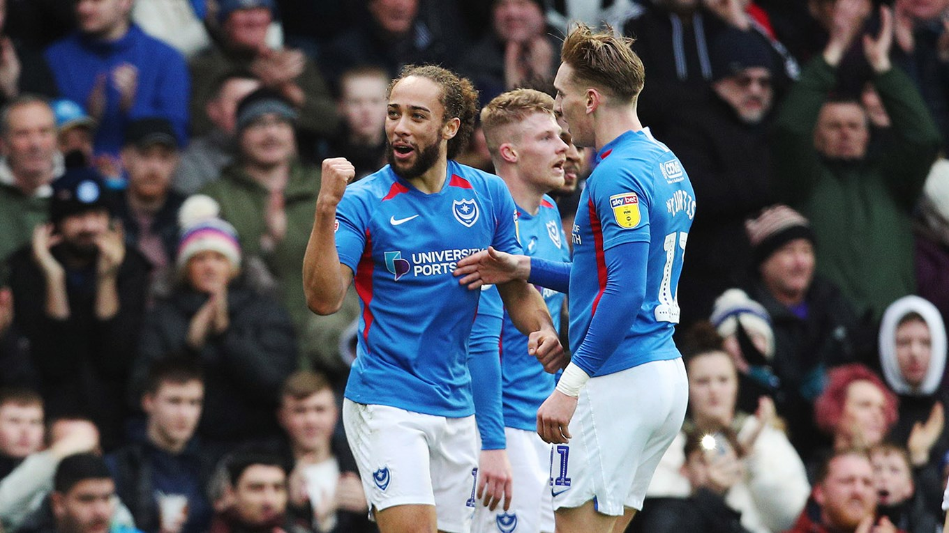 Marcus Harness celebrates scoring for Pompey against AFC Wimbledon
