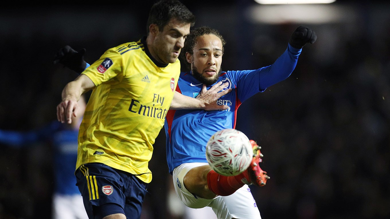 Marcus Harness in action for Pompey against Arsenal