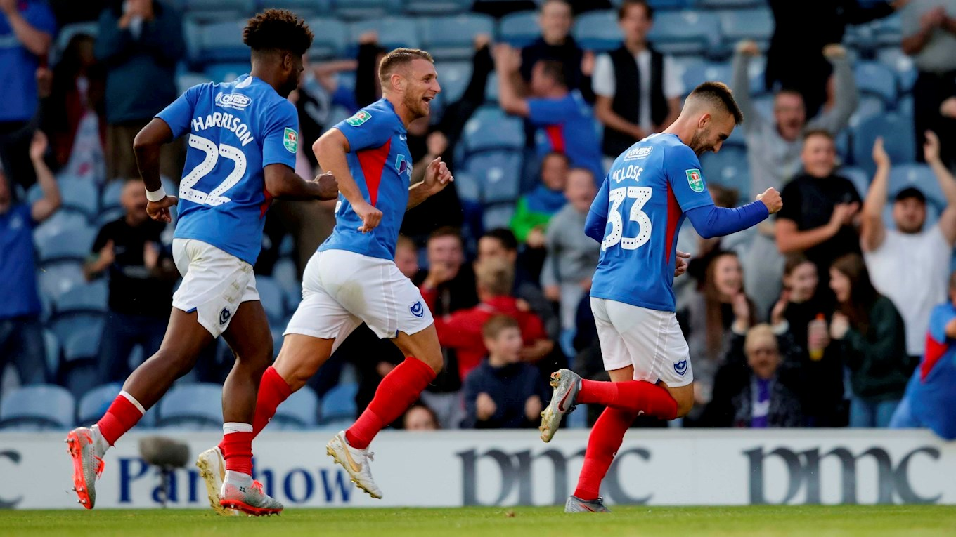 Ben Close celebrates scoring for Pompey against Birmingham in the Carabao Cup