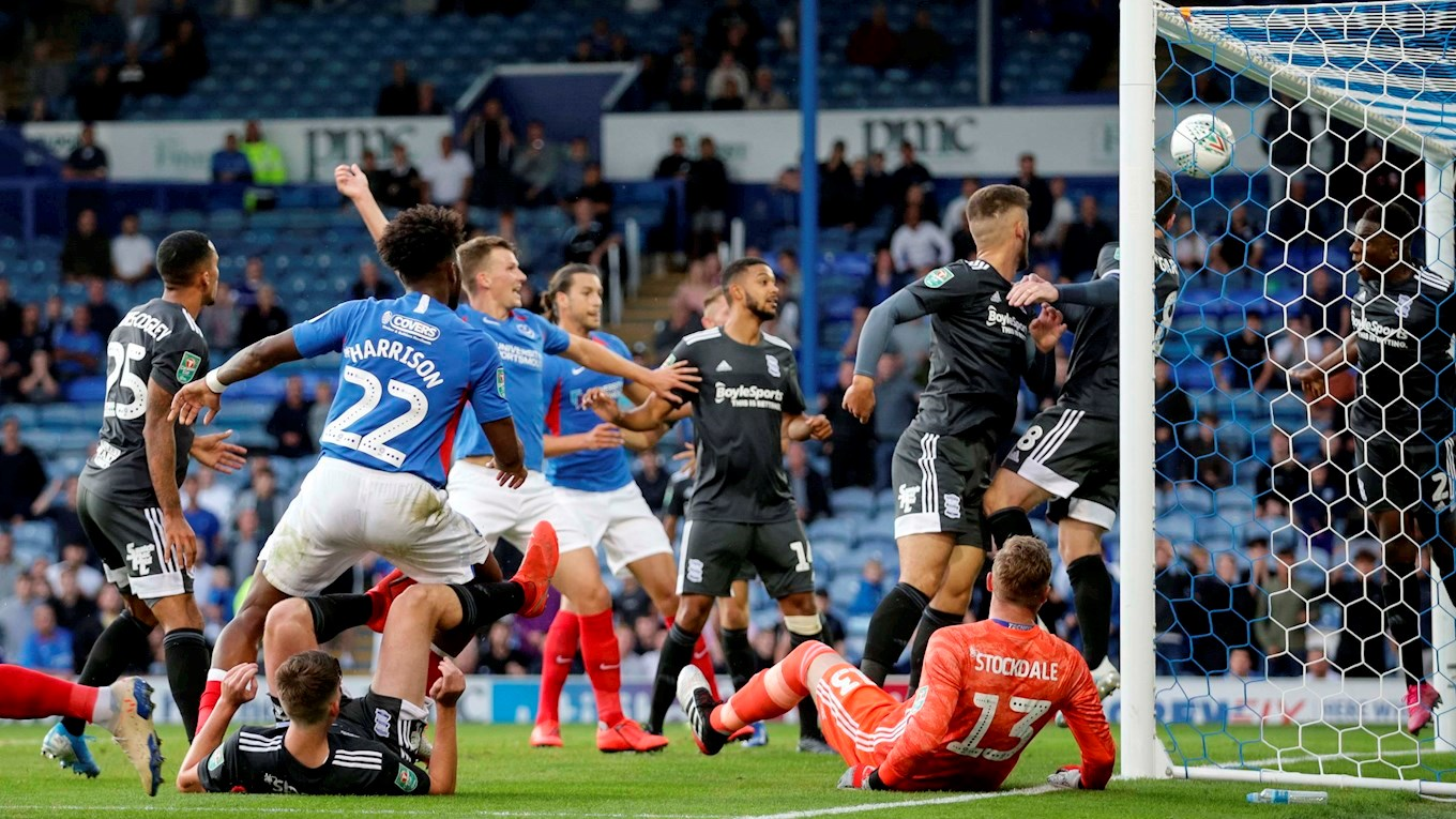 Ellis Harrison scores for Pompey against Birmingham in the Carabao Cup
