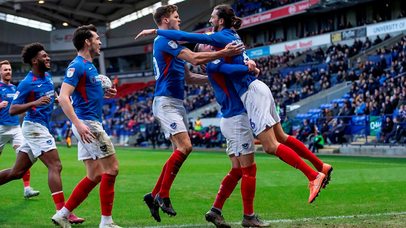 Christian Burgess celebrates scoring for Pompey at Bolton