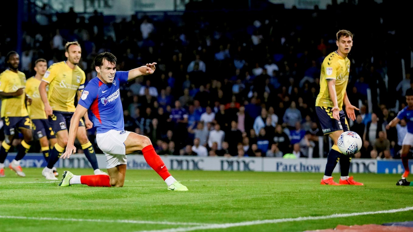 John Marquis scores for Pompey against Coventry
