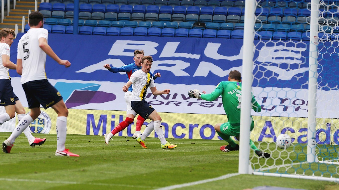Ronan Curtis scores for Pompey against Oxford