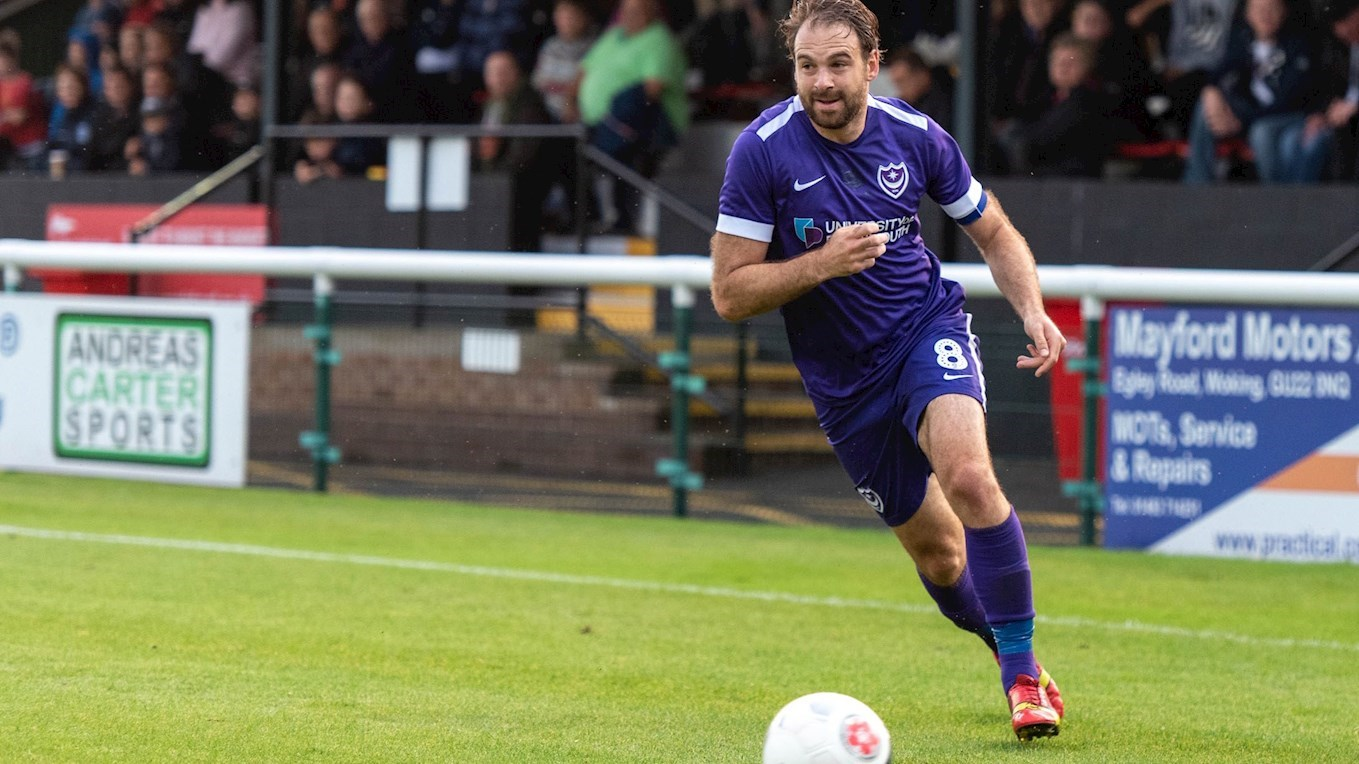 Brett Pitman in action for Pompey at Woking