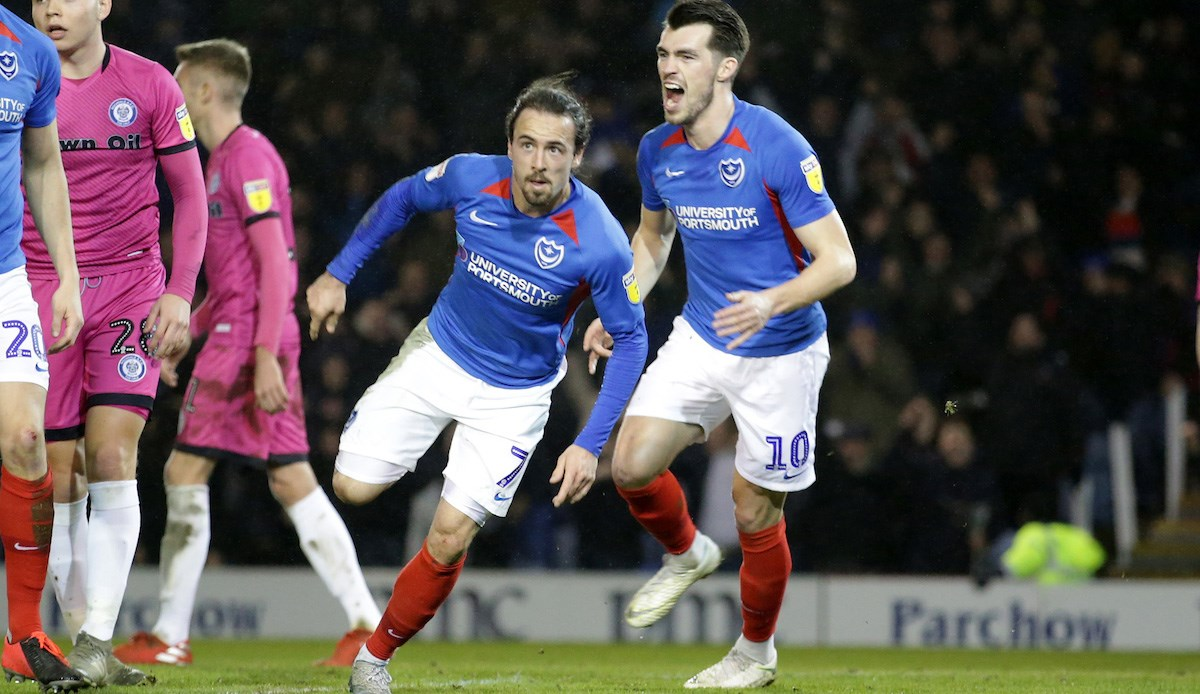 Ryan Williams celebrates scoring for Pompey against Rochdale