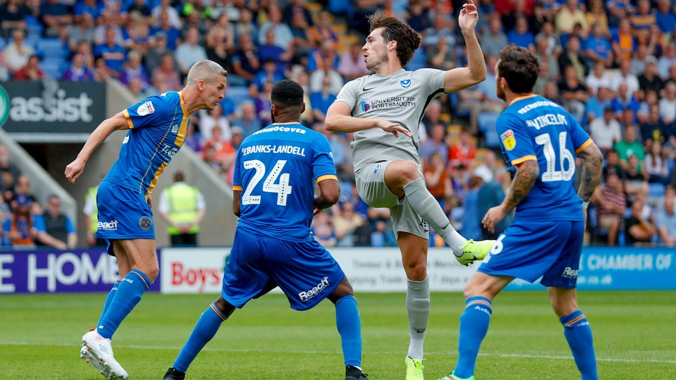 John Marquis in action for Pompey at Shrewsbury