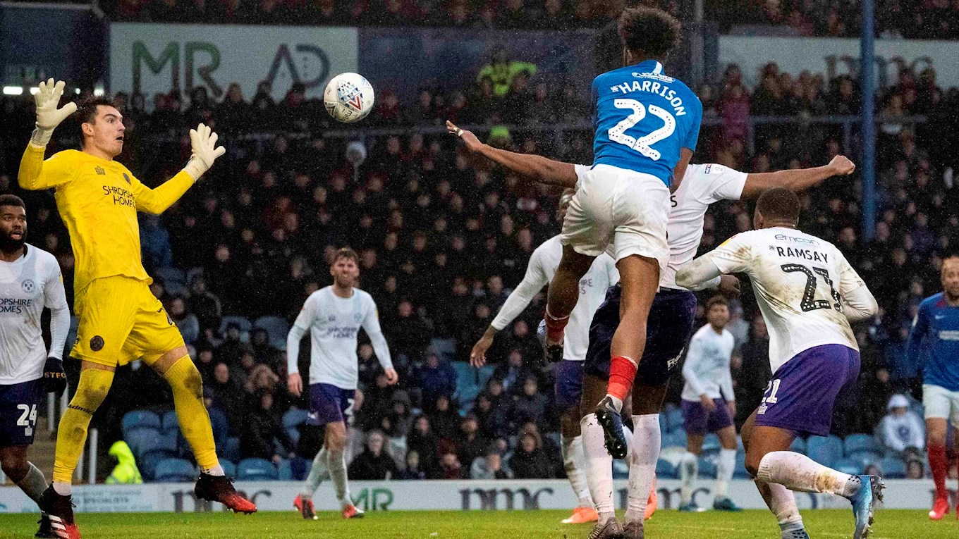 Ellis Harrison scores for Pompey against Shrewsbury