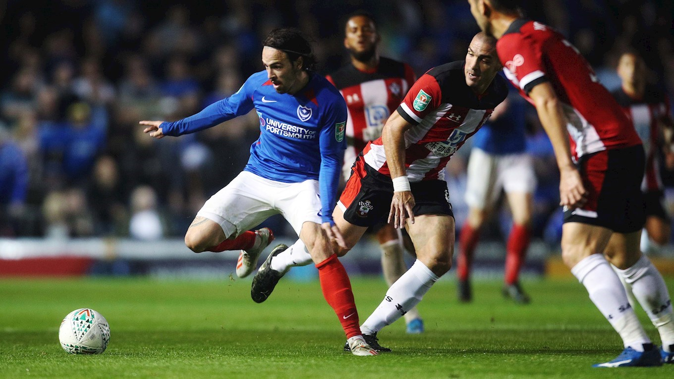 Ryan Williams in action for Pompey against Southampton