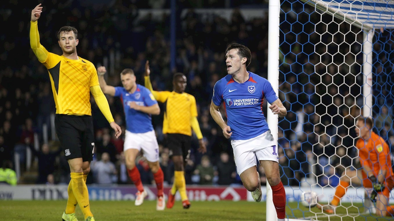 John Marquis celebrates scoring for Pompey against Southend