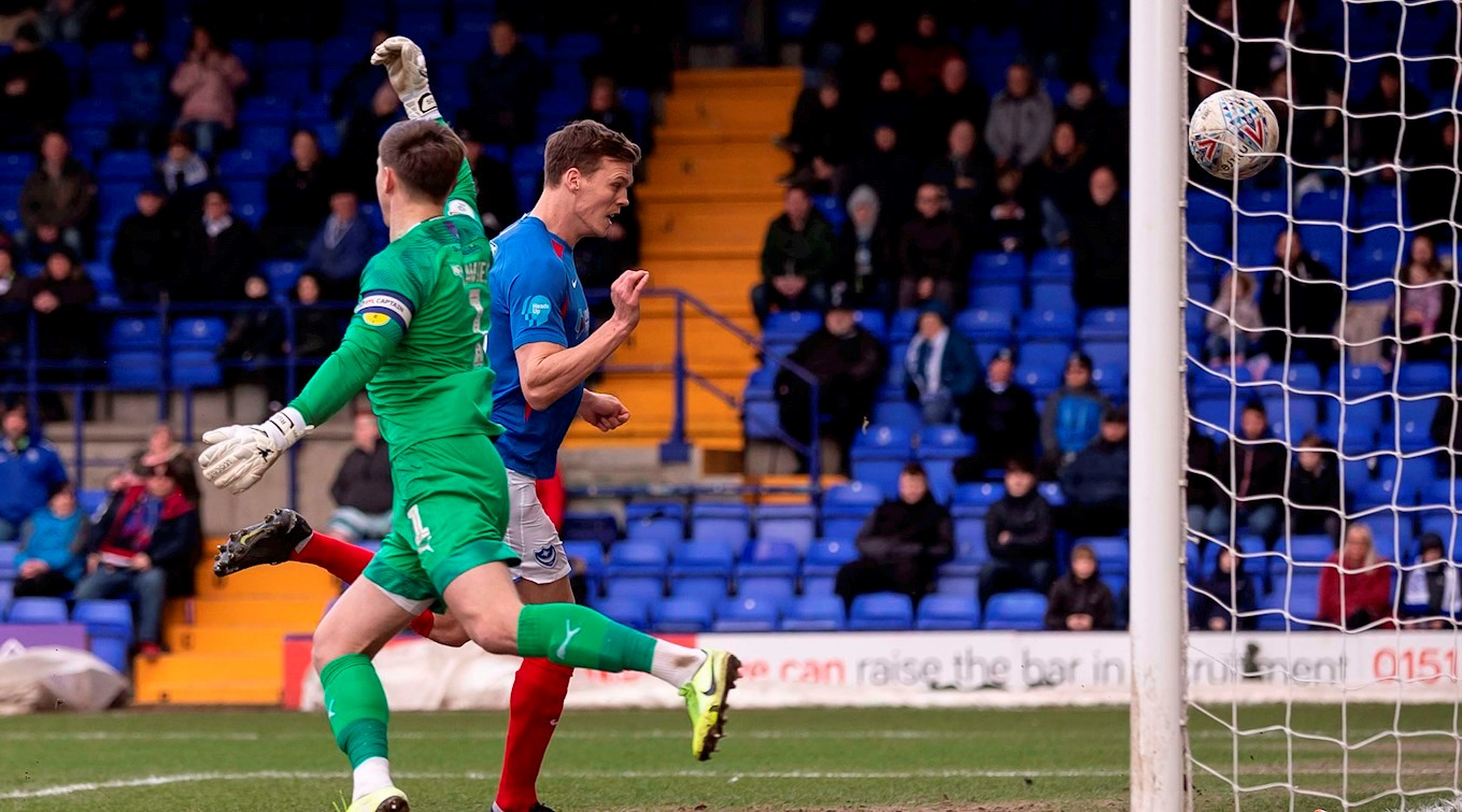 Sean Raggett scores for Pompey at Tranmere