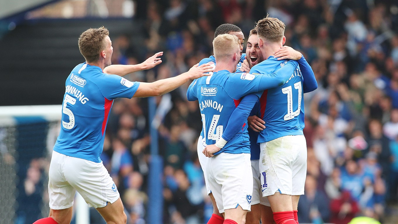 Ben Close celebrates scoring for Pompey against Tranmere