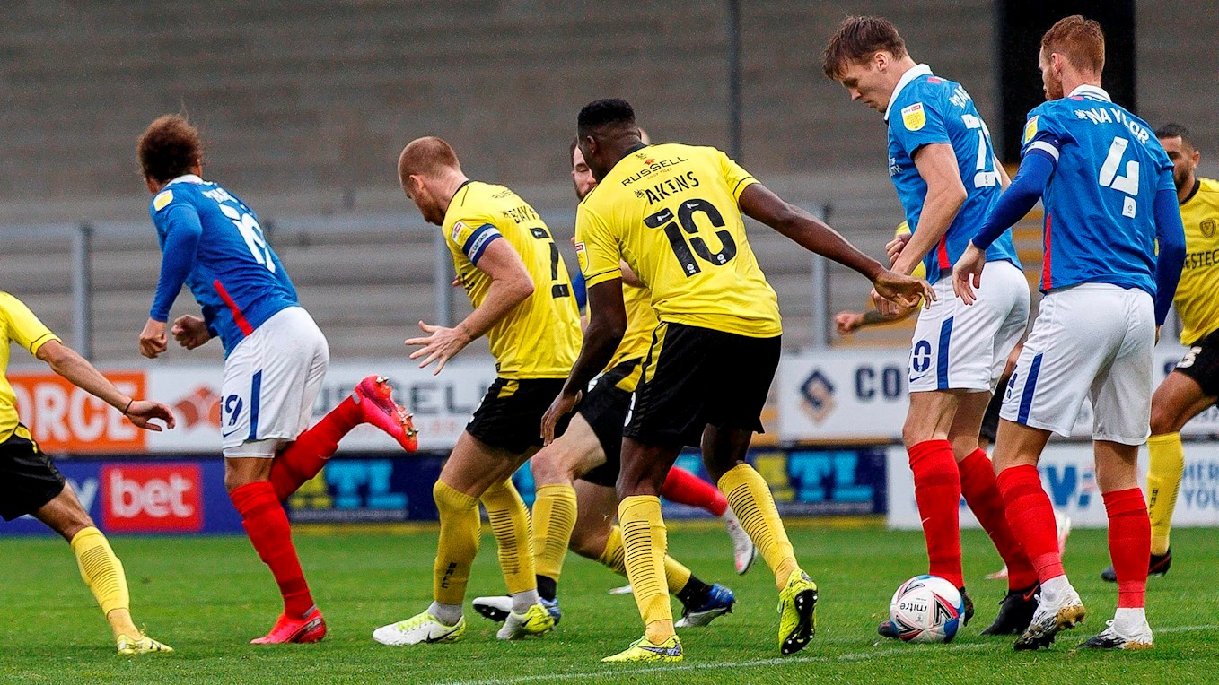 Marcus Harness scores for Pompey at Burton