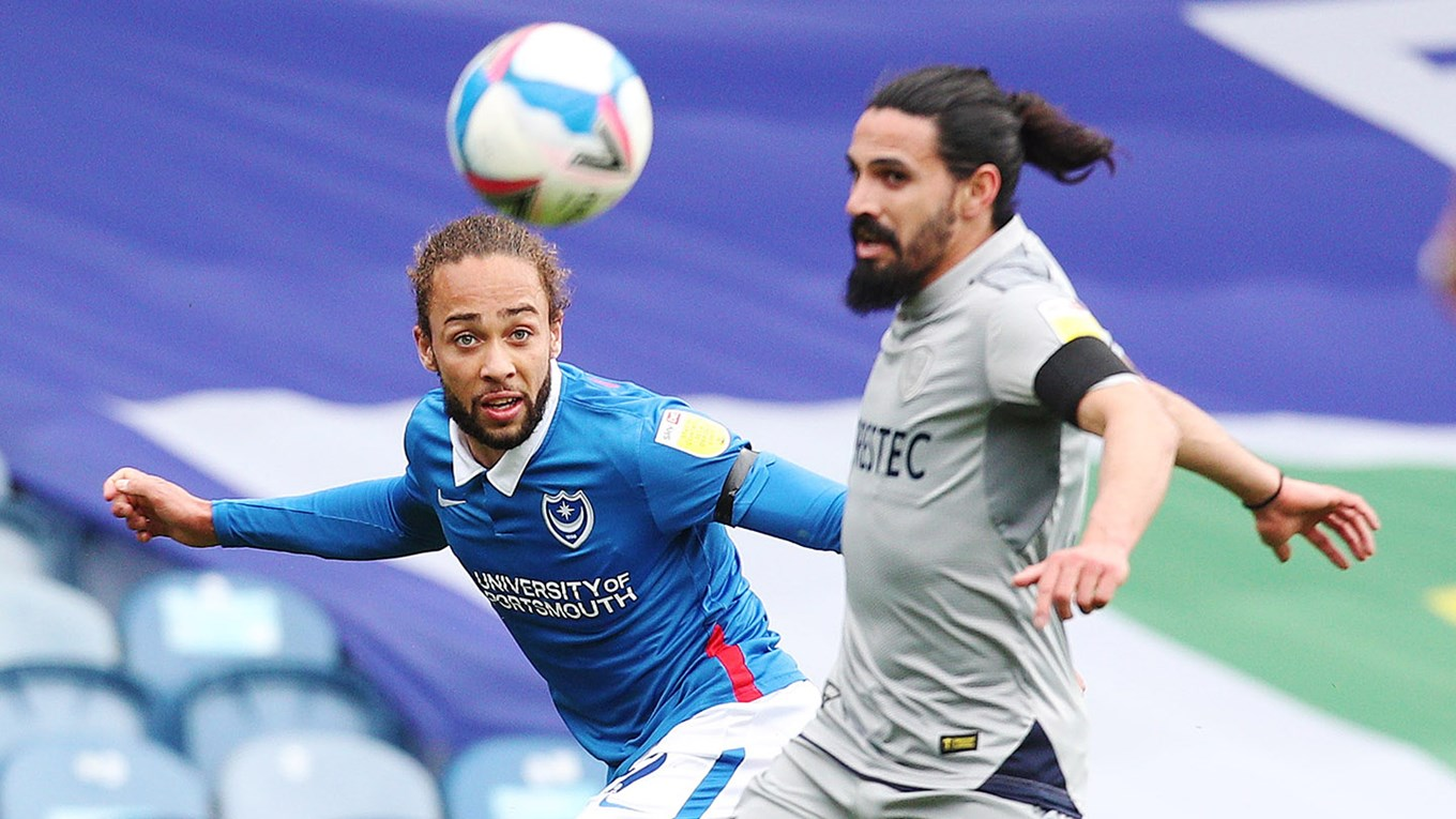 Marcus Harness in action for Pompey against Burton at Fratton Park