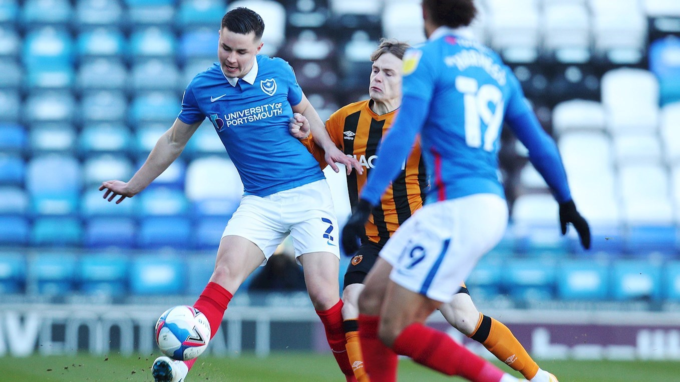 Callum Johnson in action for Pompey against Hull City