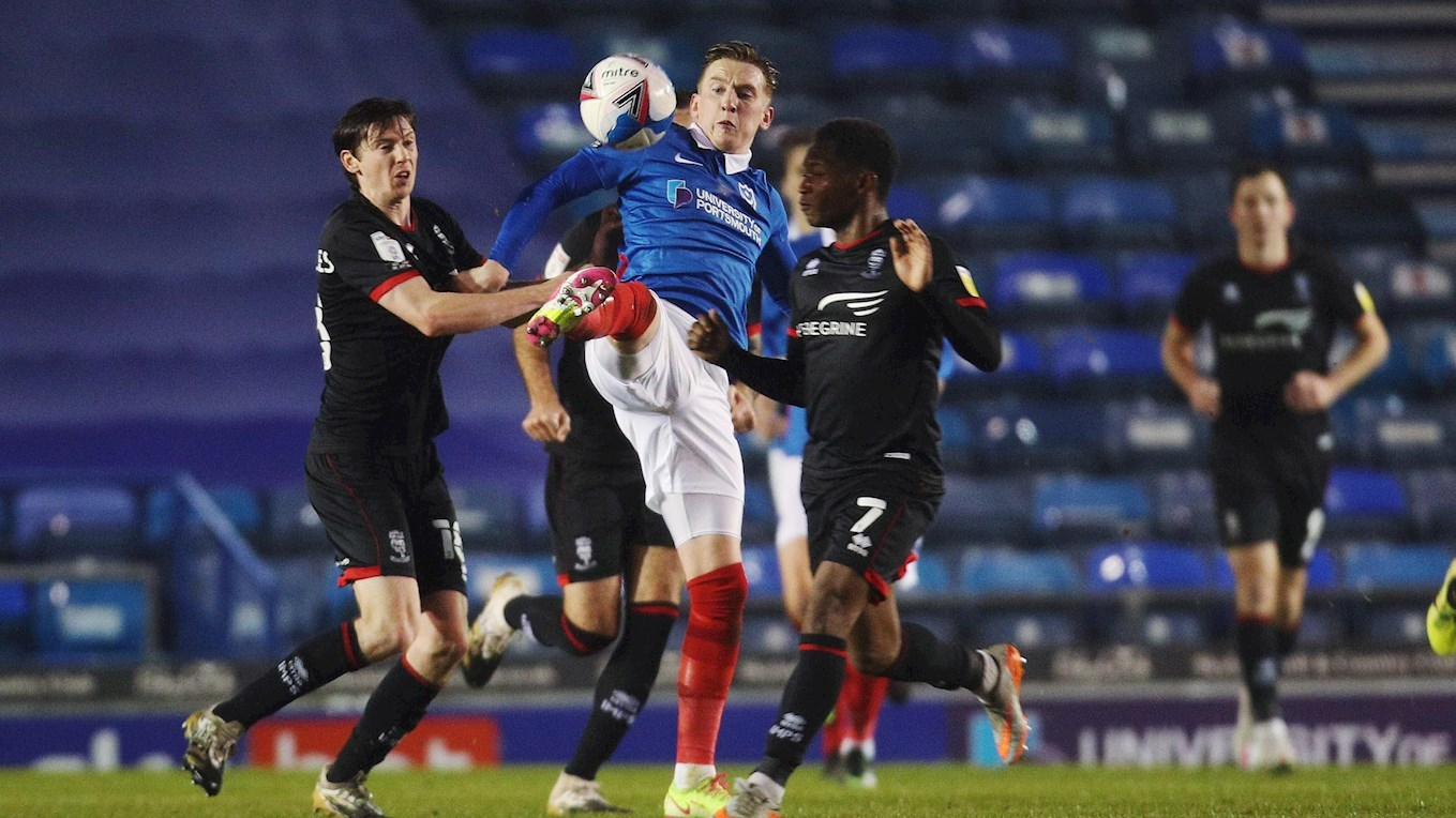 Ronan Curtis in action for Pompey against Lincoln at Fratton Park