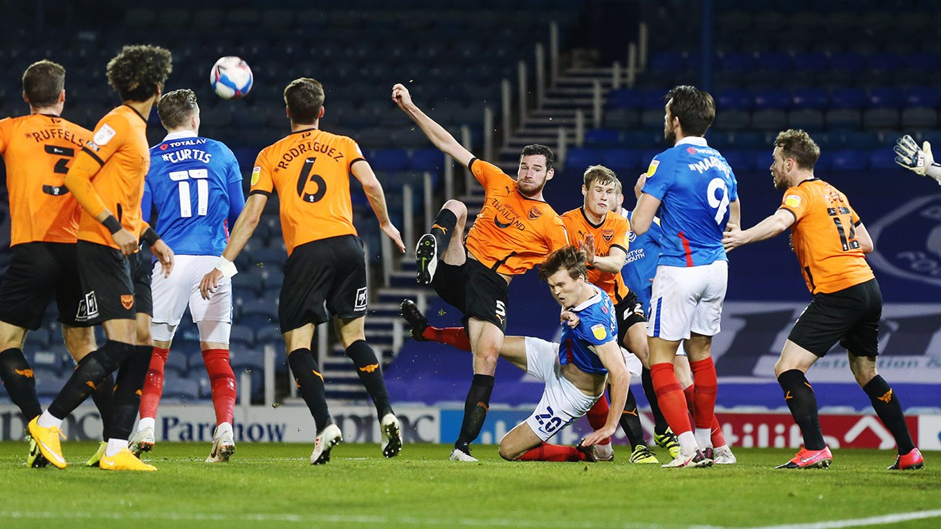 Sean Raggett in action for Pompey against Oxford