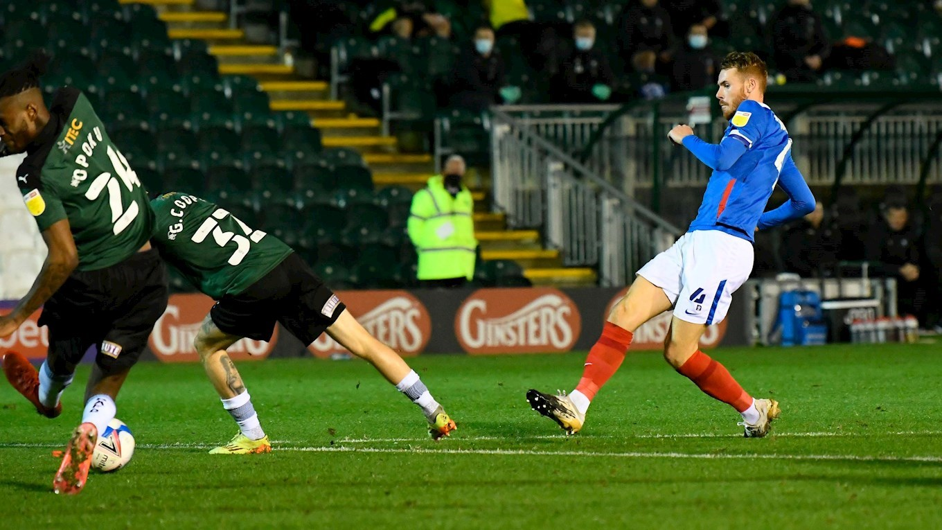 Tom Naylor scores for Pompey at Plymouth Argyle