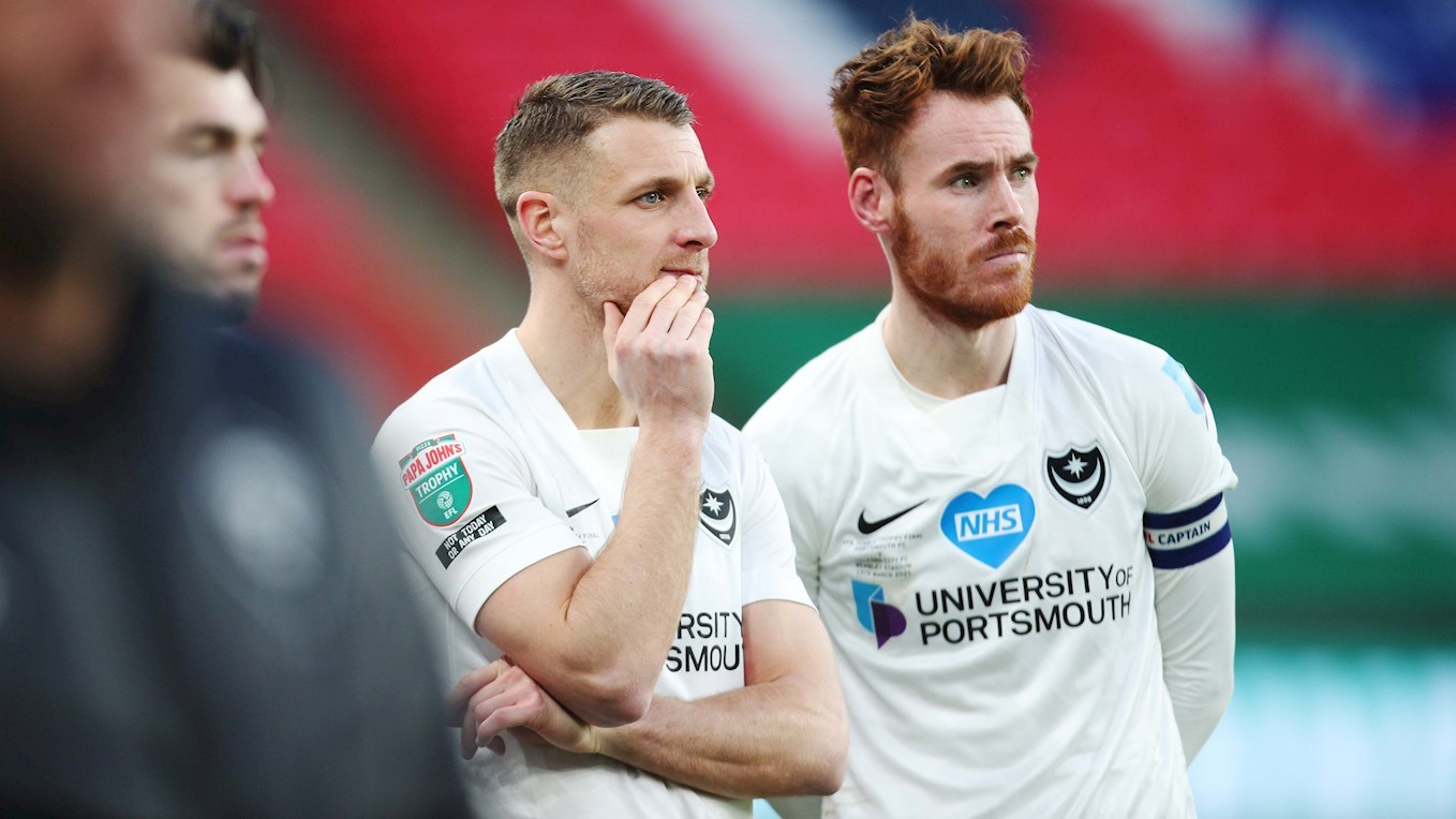 Lee Brown and Tom Naylor look dejected after Pompey lose to Salford on penalties in the Papa John's Trophy final at Wembley