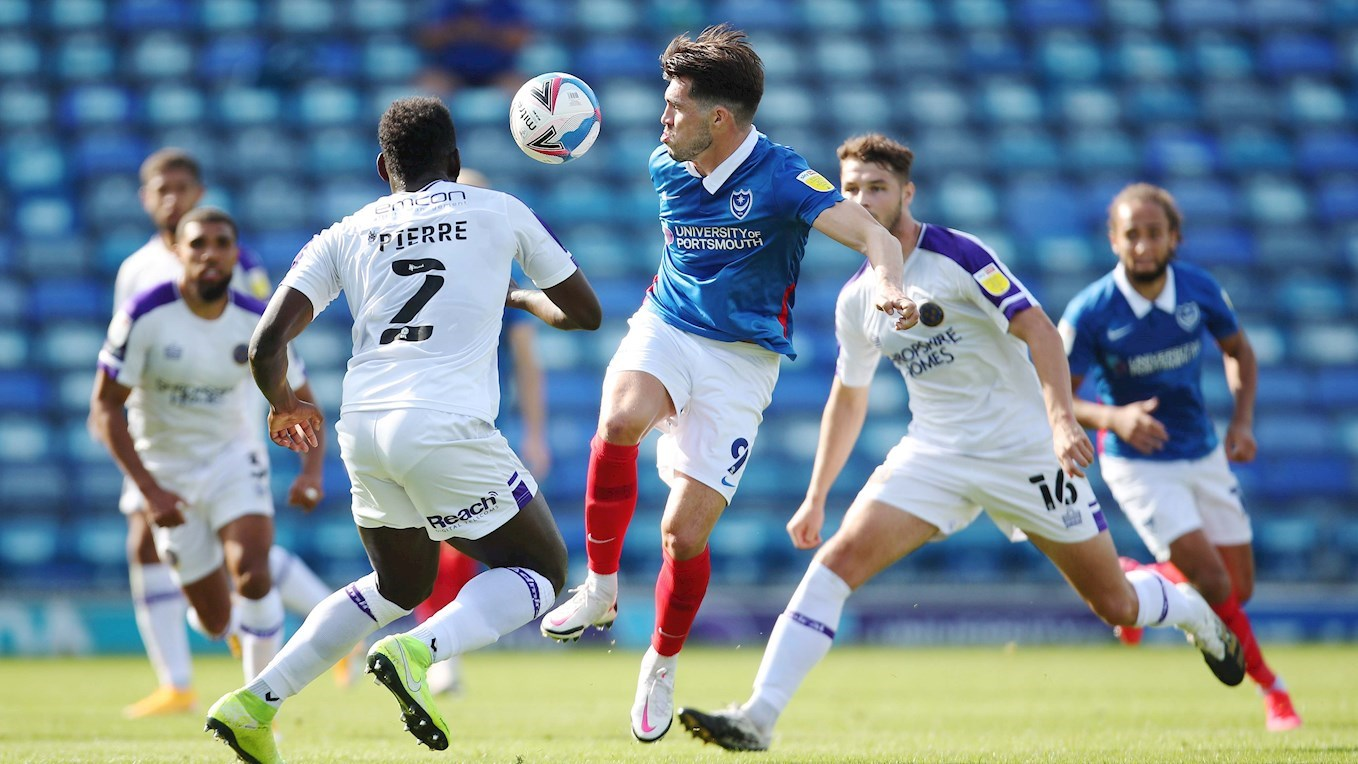 John Marquis in action for Pompey against Shrewsbury