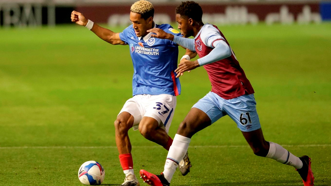 Haji Mnoga in action for Pompey against West Ham U21s in Papa John's Trophy