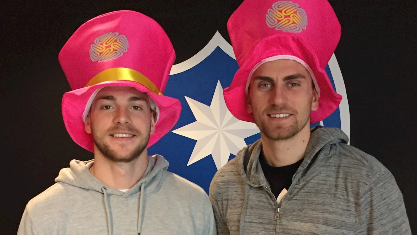 Jack Whatmough and Luke McGee show their support for Brain Tumour Research