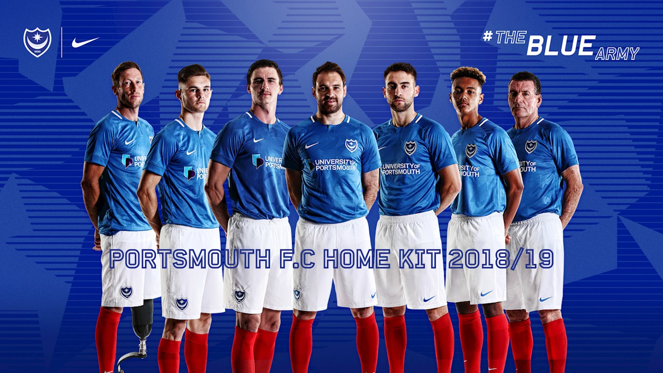 8680ea5f5d2 Pompey's new home kit is modelled by (from left to right)  Ray Westbrook ( Portsmouth Amputee FC)