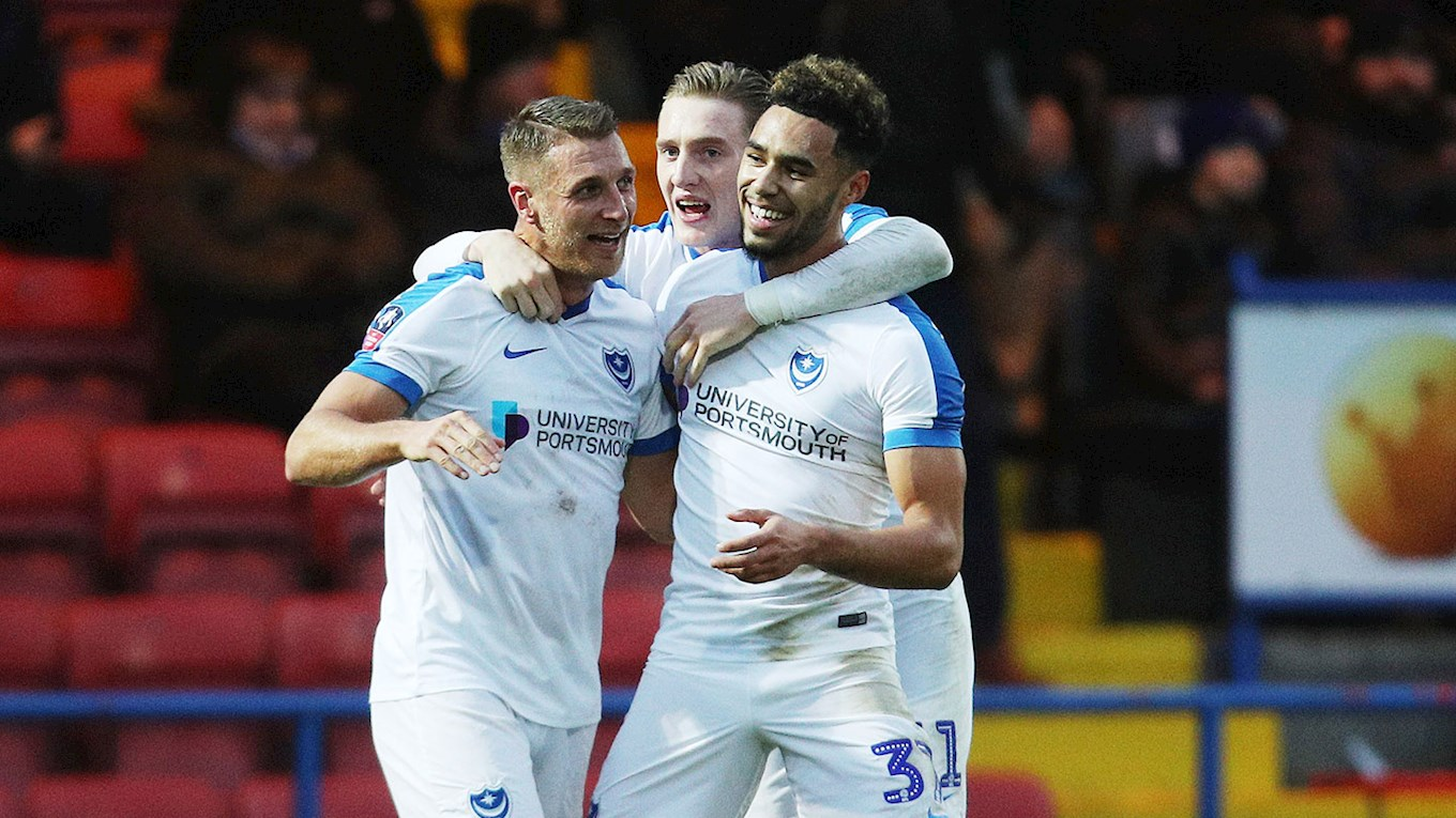 Andre Green celebrates scoring for Pompey at Rochdale