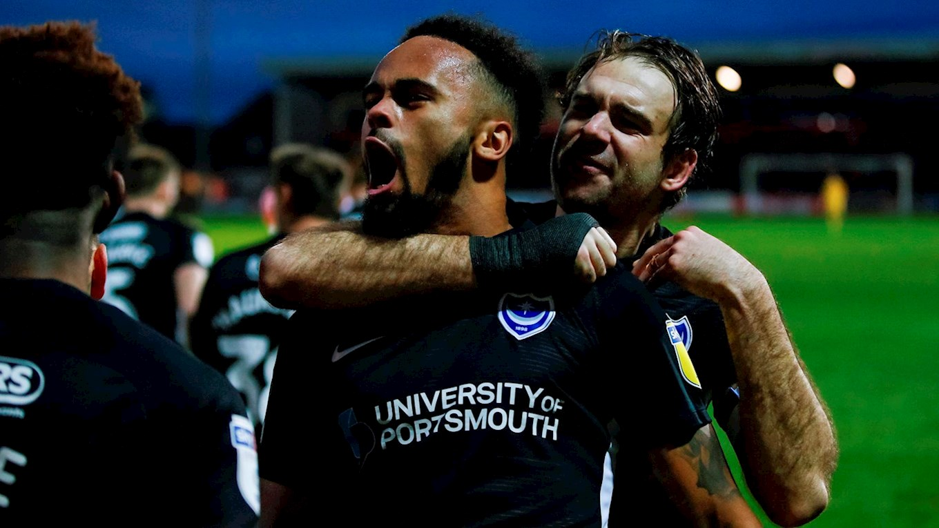 Anton Walkes celebrates scoring for Pompey at Fleetwood