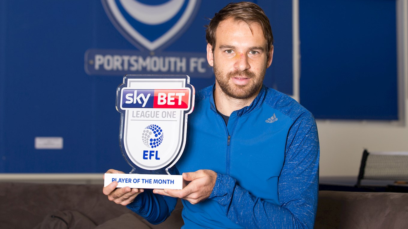 Brett Pitman with his Sky Bet League One Player of the Month trophy