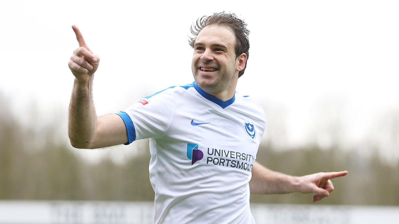 Brett Pitman celebrates scoring for Pompey at Wycombe
