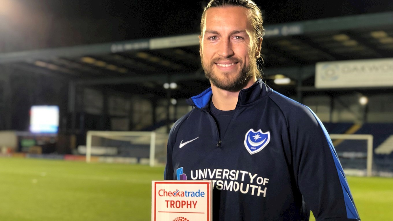 Christian Burgess with his Checkatrade Trophy Player of the Round award
