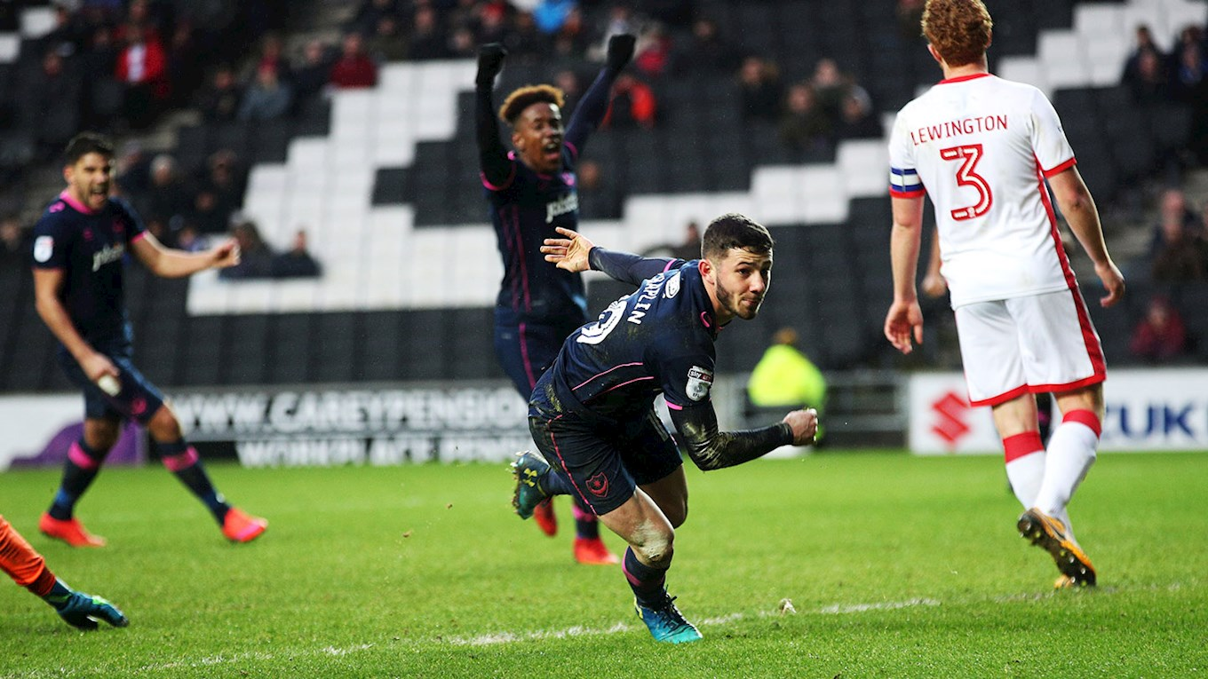 Conor Chaplin scores Pompey's winning goal at MK Dons
