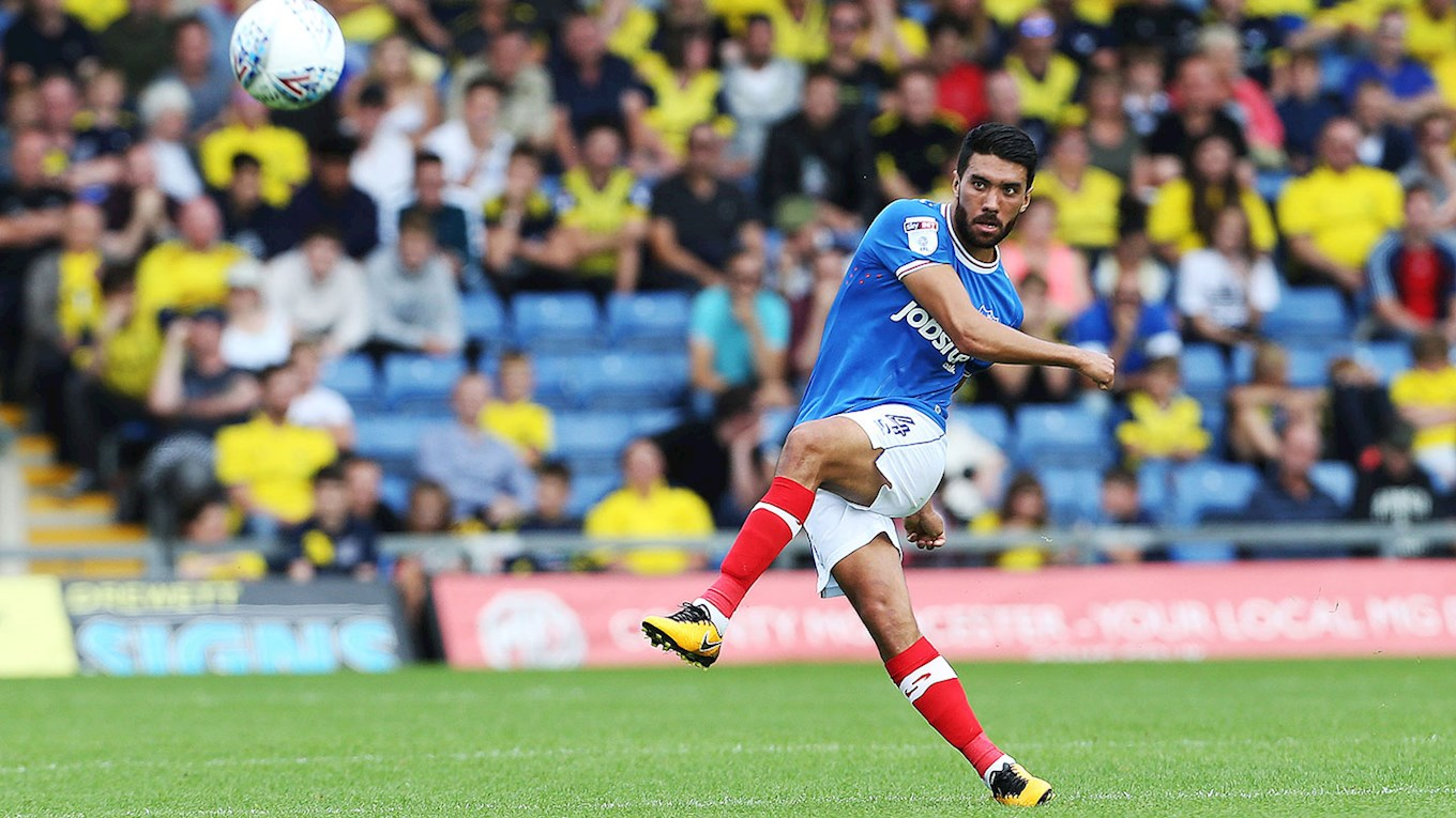 Pompey midfielder Danny Rose at Oxford United