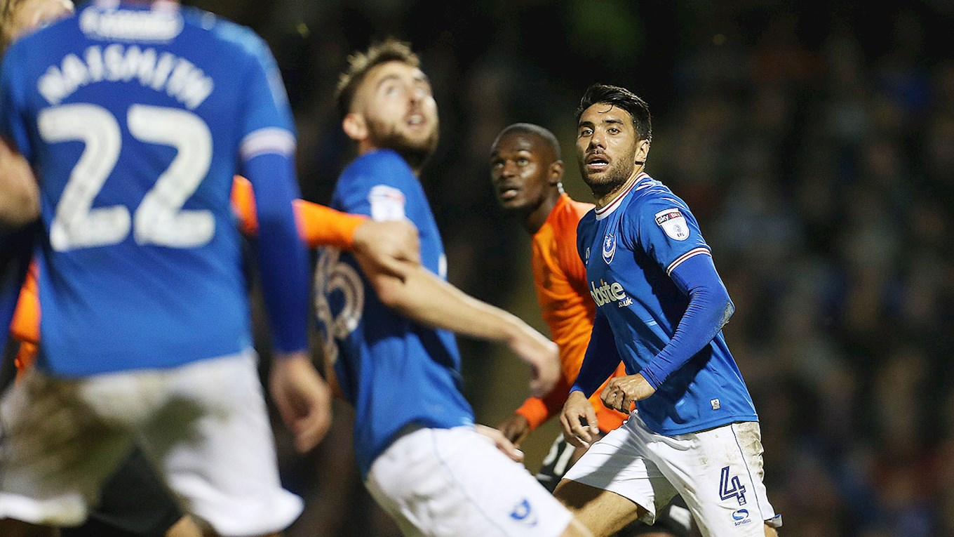 Danny Rose in action for Pompey against Southend United at Fratton Pa
