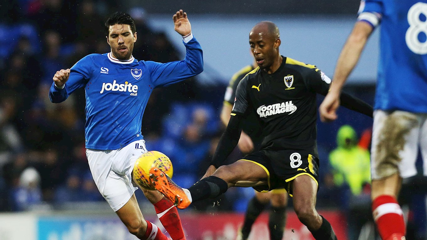 Danny Rose in action for Pompey against AFC Wimbledon at Fratton Park