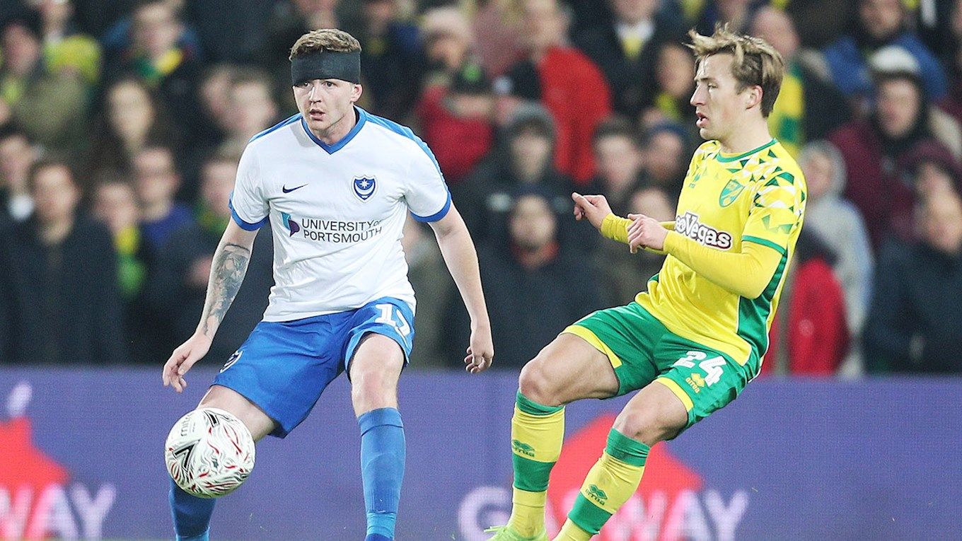 Dion Donohue in action for Pompey at Norwich