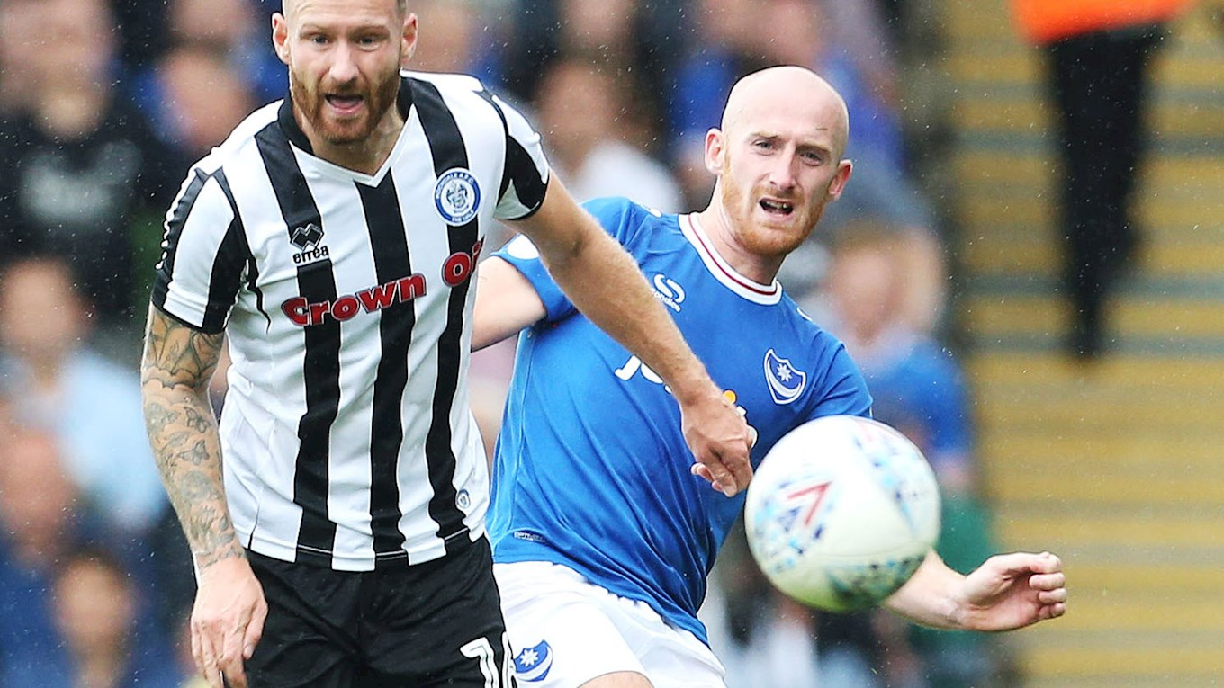 Drew Talbot in action for Pompey against Rochdale at Fratton Park in Sky Bet League One