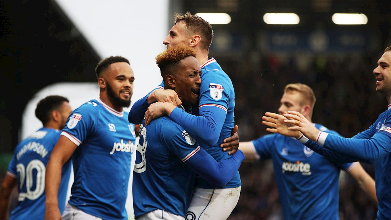 Jamal Lowe celebrates scoring for Pompey against Wigan Athletic at Fratton Park