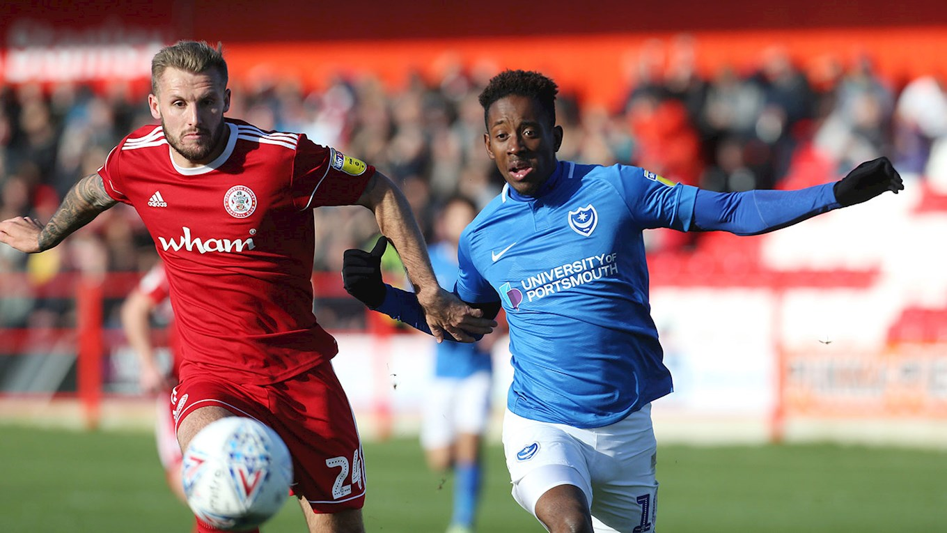 Jamal Lowe in action for Pompey at Accrington Stanley