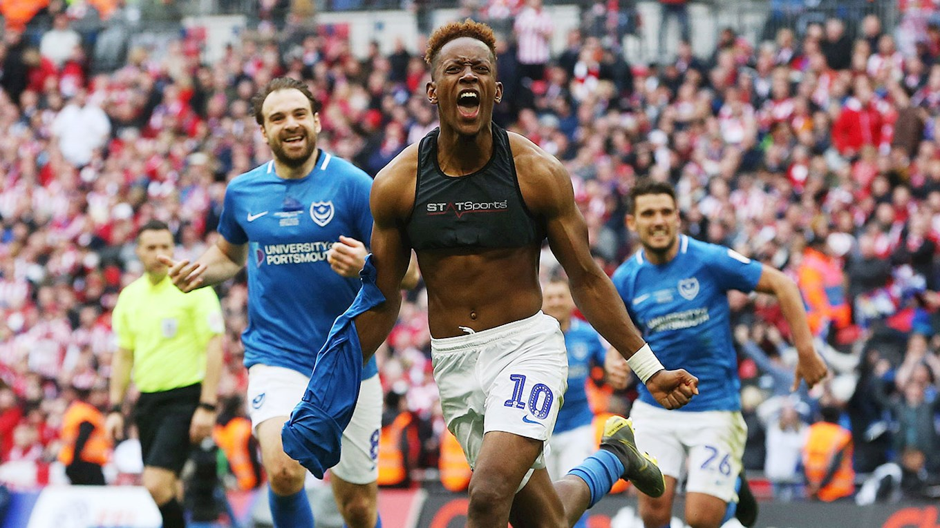 Jamal Lowe celebrates scoring for Pompey at Wembley in the Checkatrade Trophy