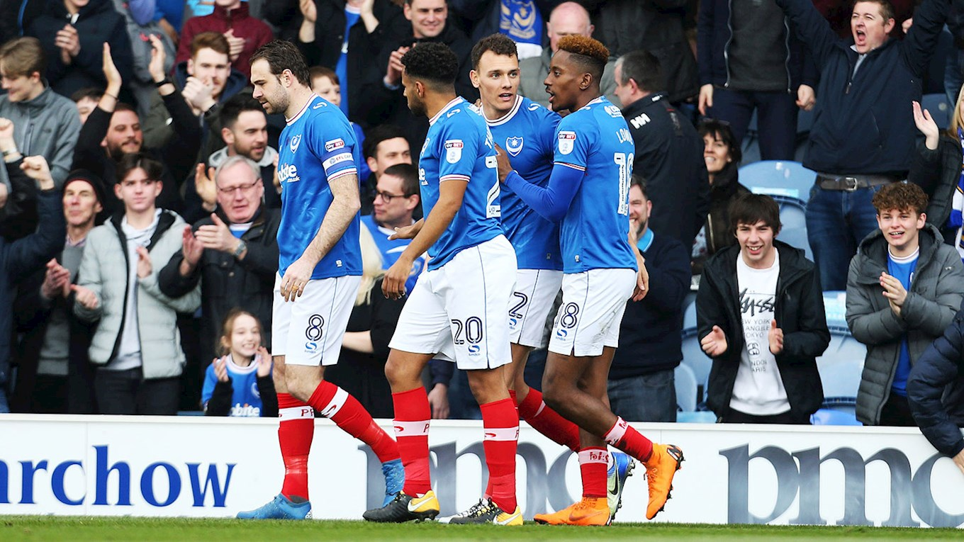Kal Naismith celebrates scoring for Pompey against Oxford United at Fratton Park