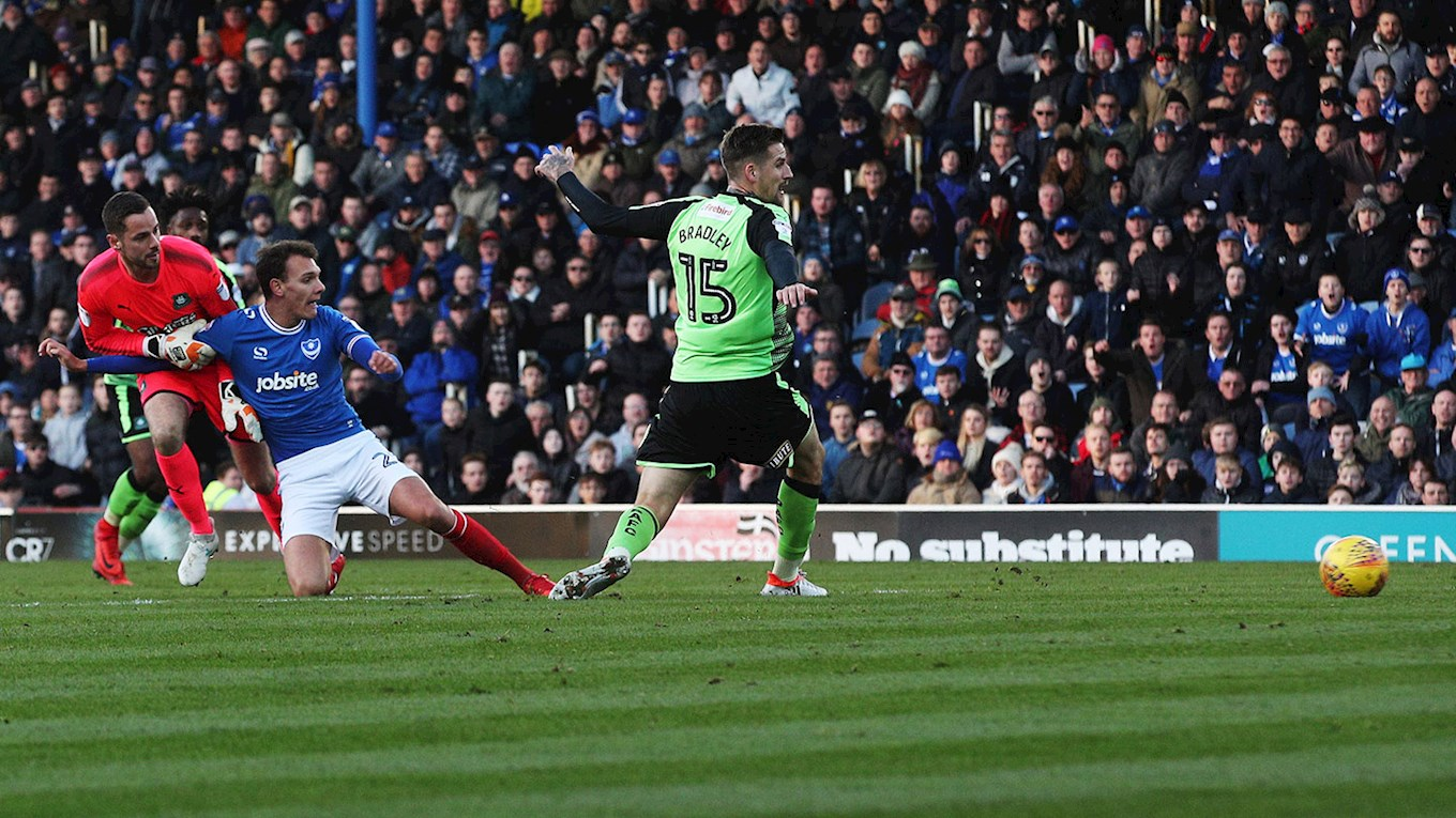 Pompey forward Kal Naismith scores against Plymouth Argyle at Fratton Park