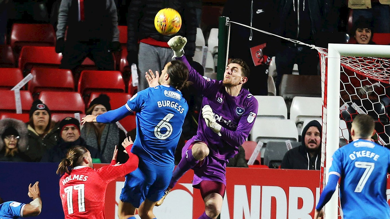 Pompey goalkeeper Luke McGee in action at Charlton Athletic