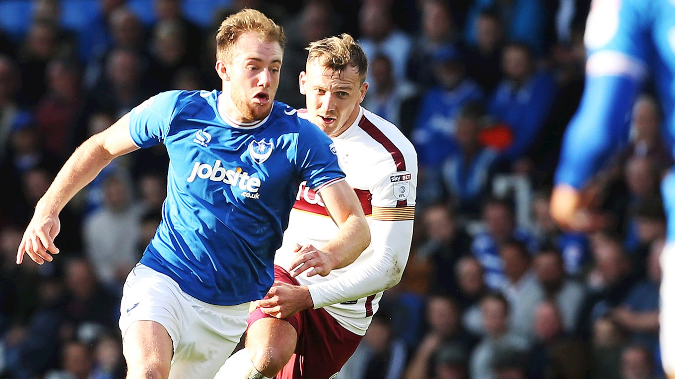 Matt Clarke in action for Pompey against Bradford City at Fratton Park